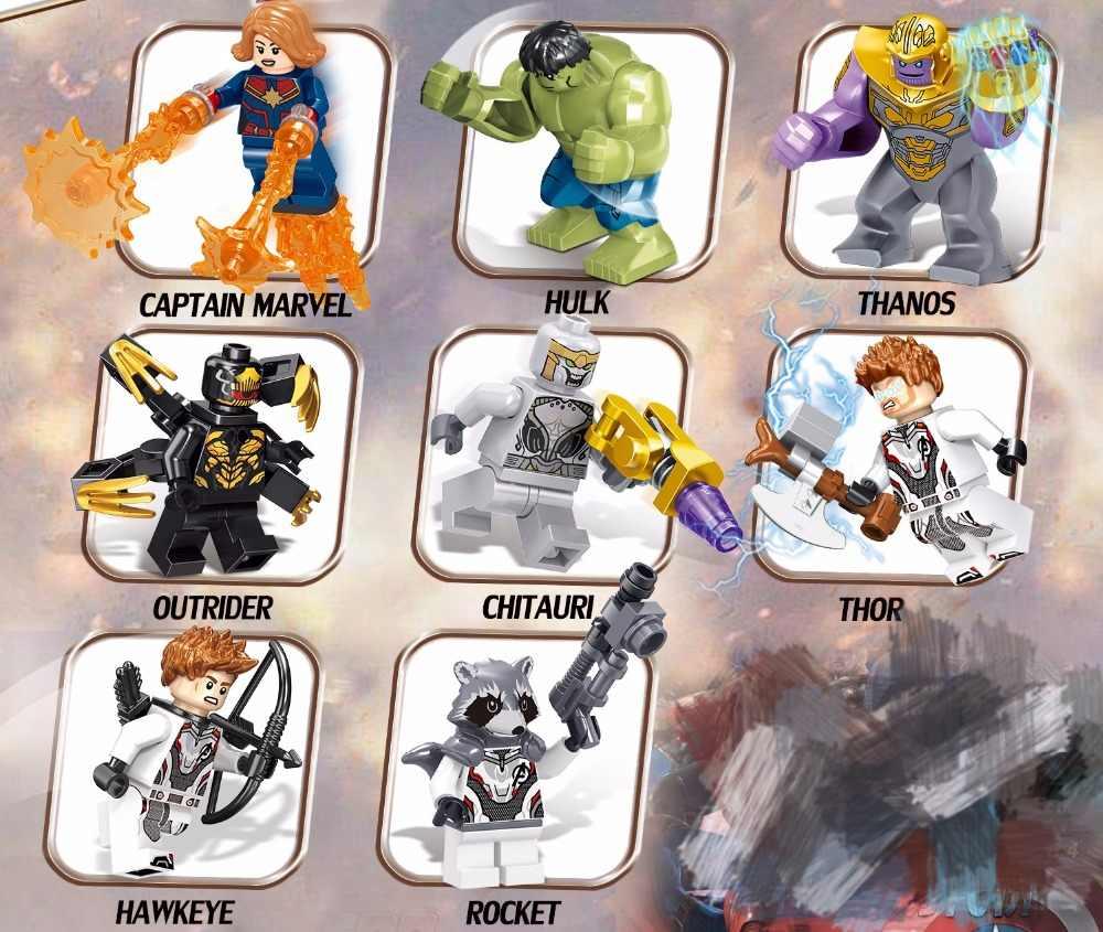 16 шт./компл. Супер Герои с изображением героев фильма Марвел «мстители» завершающей Мини Железный человек танос Тысячелетнего Сокола, Халк-фигурки, строительные блоки, совместимые с Lego