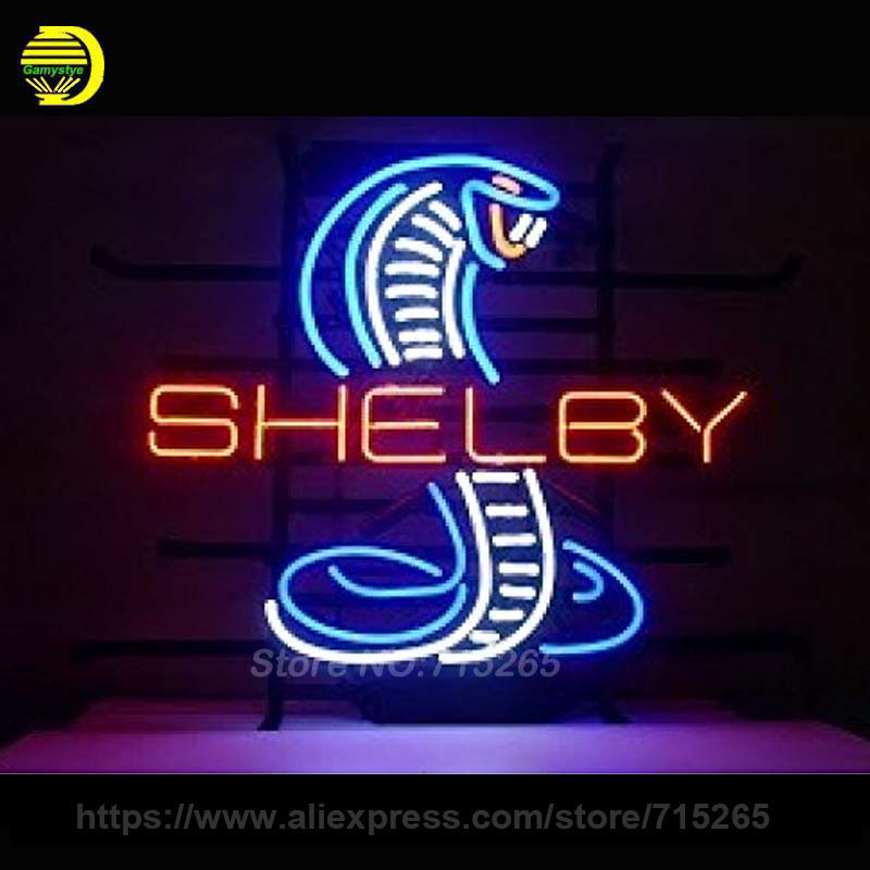 Shelby Snake Neon Sign Decorate Real Glass Tube Cool Neon Bulbs Recreation Room Garage Indoor Frame Sign Store Display VD 17x14 ord american auto racing neon sign decorate glass tube car neon bulb recreation room indoor frame sign store wall displays 24x20