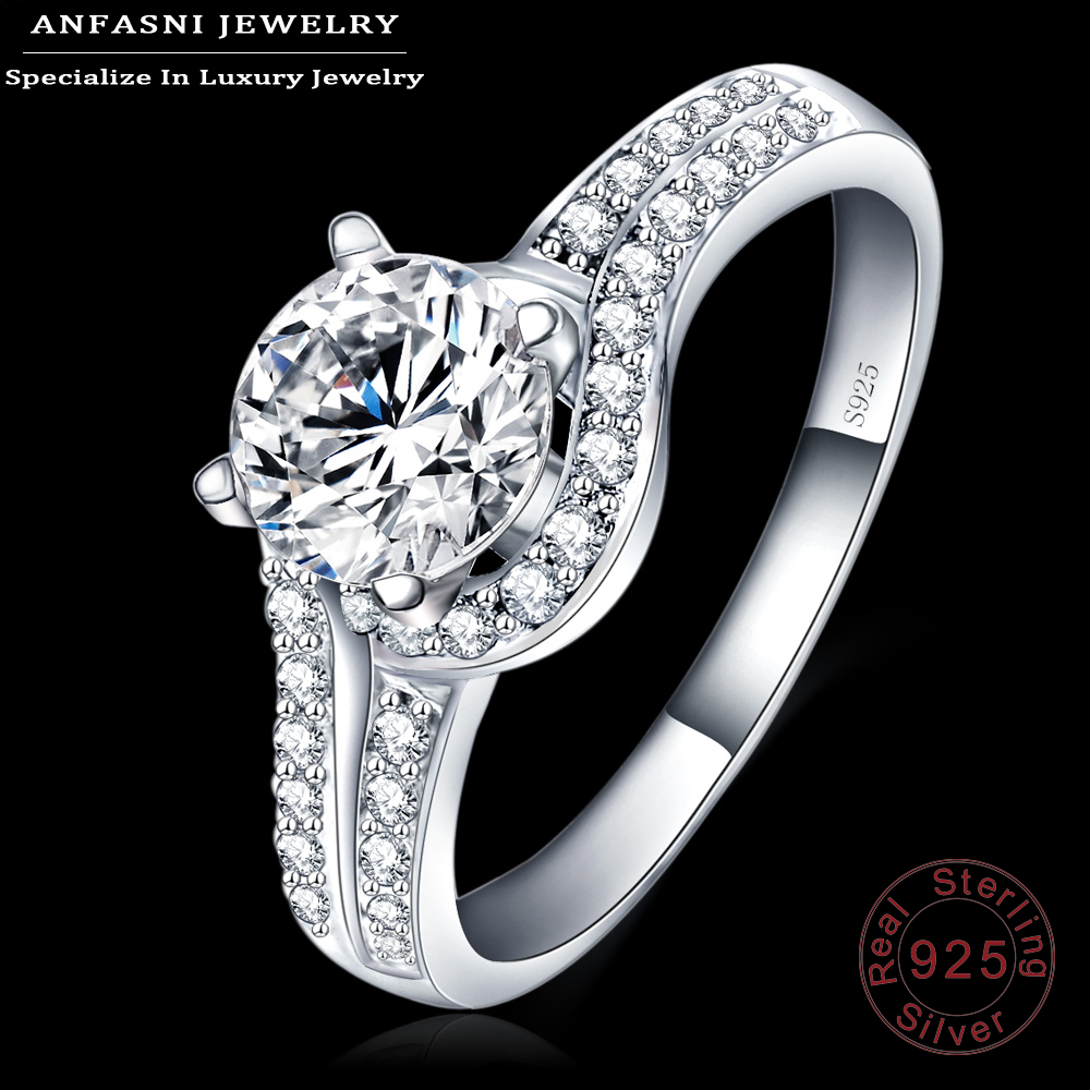 ANFASNI 2017 Romantic Rings Fine Jewelry 100% 925 Sterling Silver Rings Clear Zircon Rings For Brides Anillos De Boda SRI0002-B