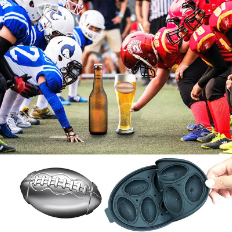 6 Grids 3D Football Shape Silicone Ice Cube Mold Whisky Wine DIY Ice Cube Tray Makers Chocolate Mould Bar Party Kitchen Tools in Ice Cream Makers from Home Garden