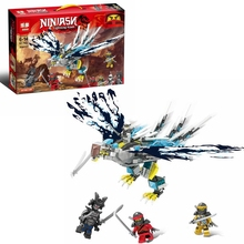 504PCS compatible movie ninja kai jay ZaneEagle Building Blocks digital brick childrens educational toys