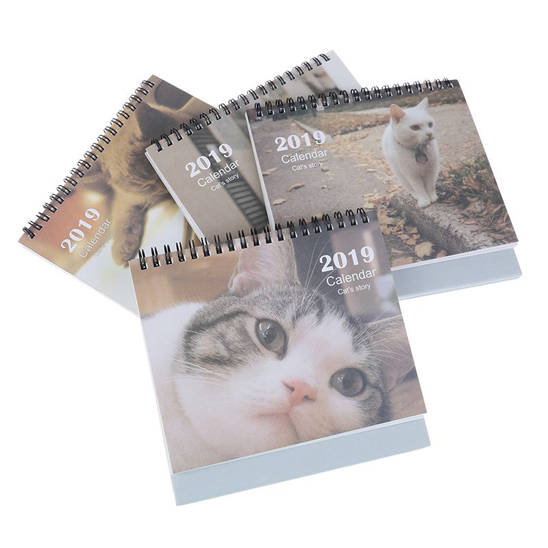 Humble 2019 Year New Kawaii Cartoon Cat Calendar Creative Desk Standing Paper Organizer Schedule Planner Notebook Escolar 17*16cm To Clear Out Annoyance And Quench Thirst Calendar