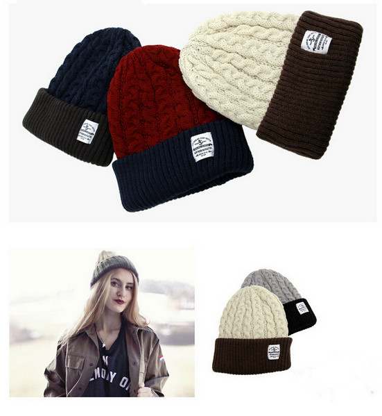 2016 Korean Unisex Fashion Beanies Lover Knit Beanie Hat Winter Hat For Men And Women Solid Color Elastic Hip-Hop Cap Gorro fashion solid color baseball cap for men and women