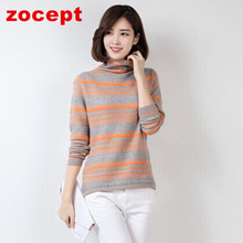zocept 2016 Fashion Women's Clothing Winter Cashmere Blend Striped Sweater Female Thick Turtleneck Full Sleeve Knitted Pullovers