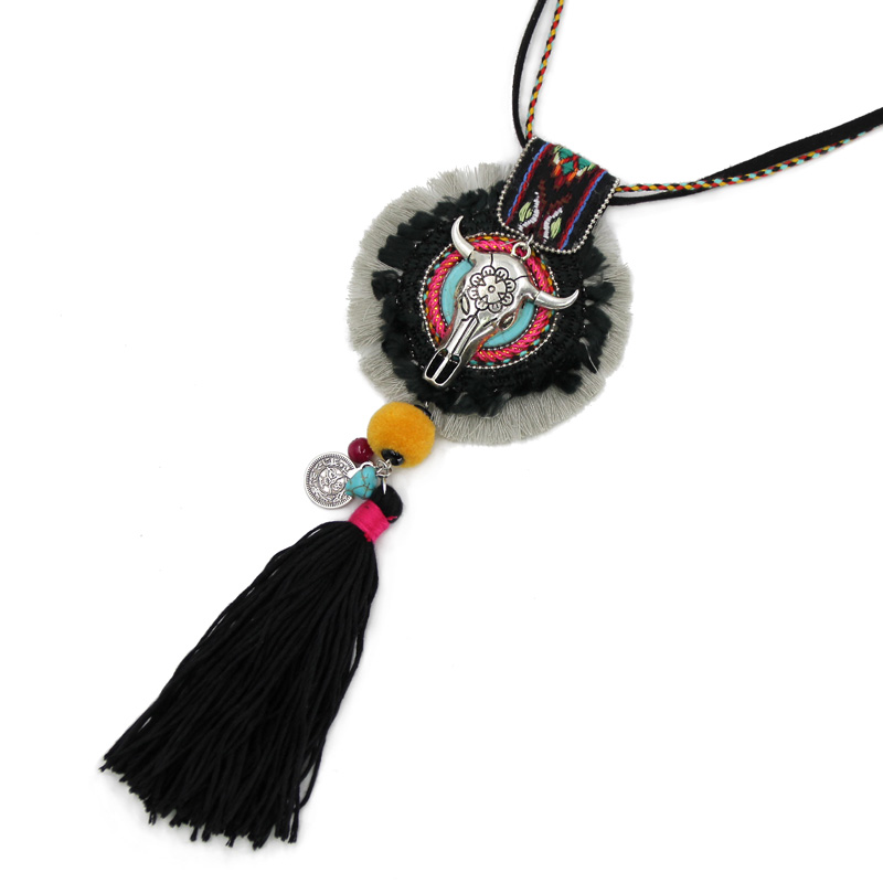 aa3972074df VONNOR Necklace Jewelry Women's Long Necklaces Chain Black Thread Tassel  Alloy Cow Head Boho Necklaces pendants-in Pendant Necklaces from Jewelry ...