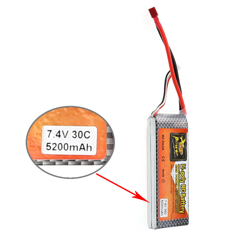 For RC Car Airplane Helicopter Part ZOP Power 7.4V 5200Mah 2S 30C T Plug Lipo Li-Poly Battery Newest  цена и фото