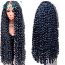 """Long Length Human Hair Wigs with Baby Hairs 13x4 Curly Lace Front Wig 28 30"""" 32"""" Middle Part 250% 400% Density Remy Qearl"""
