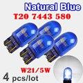 Flytop (4 шт./лот) 580 7443 W21/5W T20 натуральное голубое стекло XENON Super White 12V 21/5W W3x16q автомобильная лампа, автомобильная лампа