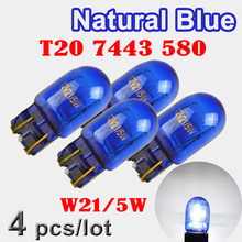 Flytop (4 peças/lote) vidro xenon 580 7443 w21/5w t20, vidro azul natural super branco 12v 21/5w w3x16q lâmpada de luz automática para carro