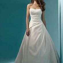 Vestidos de noiva! Низкая цена! жемчужное ТРАПЕЦИЕВИДНОЕ свадебное платье без бретелек с шлейфом белого/цвета слоновой кости OW 6642