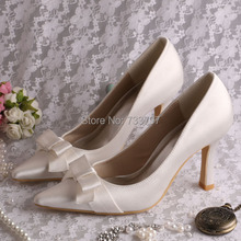 Wedopus Пользовательские Игристые Свадебные Пром Обувь Атласная Белый С Острым Носом Высокие Каблуки леди Насосы
