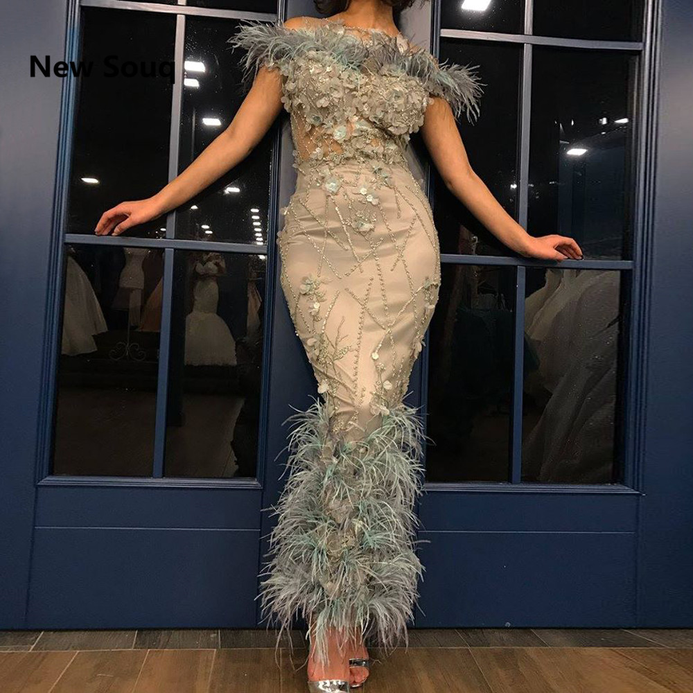 Ankle Length Sheath   Evening     Dresses   Feather Off The Shoulder Boat Neck Applique Beading   Evening   Gowns Dubai Arabic Prom   Dress
