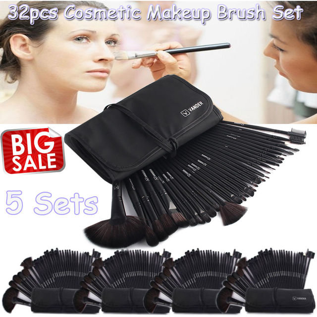 Wholesale 5 Sets   32pc Makeup Brushes Foundation Powder Pinceaux  Maquillage Cosmetics + Pouch Bag Professional Beauty Kits BK acde45fd99fd7