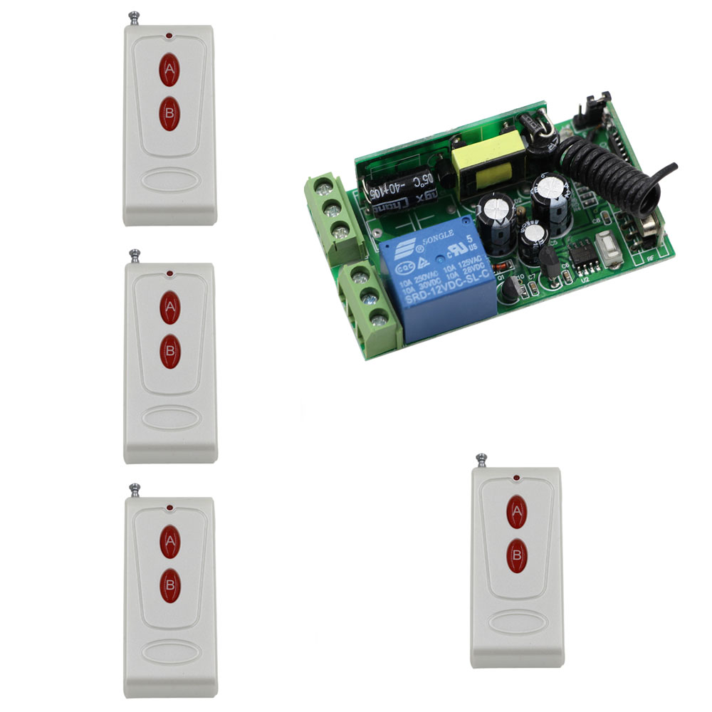 New AC 85V 220V 110V 250V 1CH 10A Remote Control Light Switch Relay Wide Voltage Radio Receiver Module and 4pcs Transmitters ac 250v 20a normal close 60c temperature control switch bimetal thermostat
