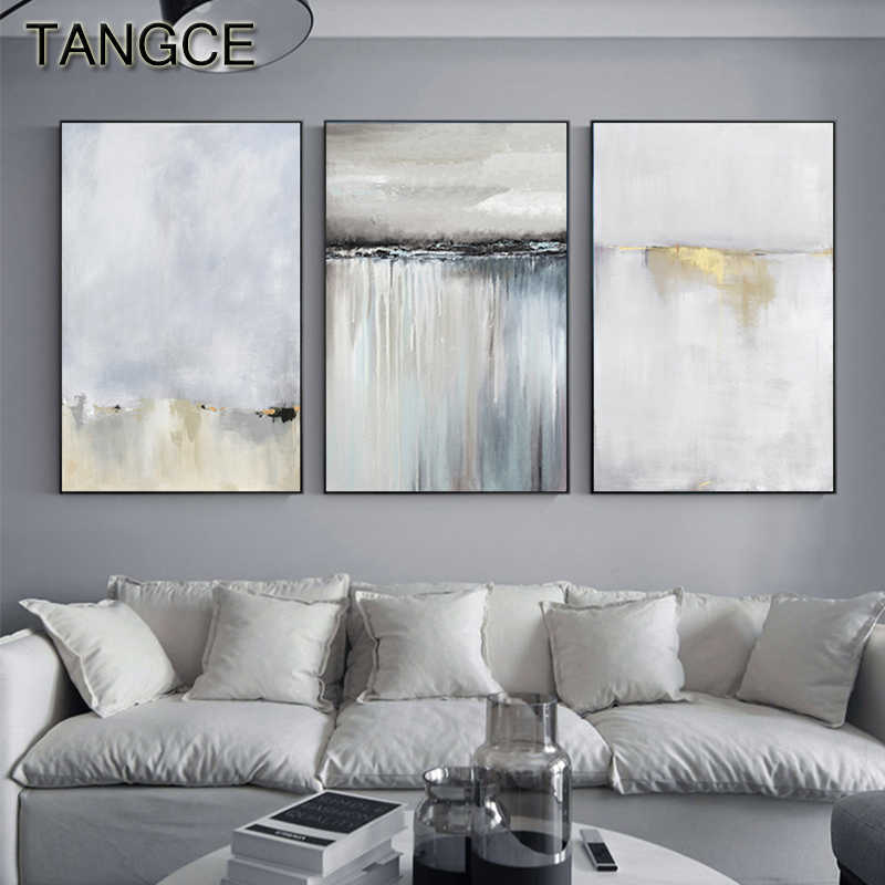 Abstract Light Golden Painting Tableaux Big Poster Print Gold Paint Wall Art Pictures for Living Room Cuadros Salon Decoracion