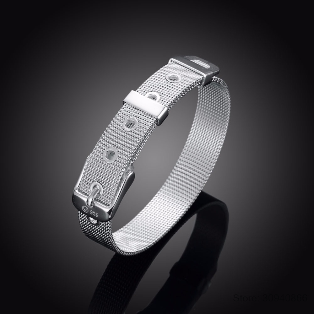 LEKANI Fashionable Belt Design Pure 925 Sterling Silver Fine Jewelry Bracelet Top Quality 10mm Watch Chain For Woman Man Gift
