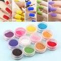 12 Color Glitter Nail Art Kit de Herramienta de Acrílico Del Polvo Del Polvo joya de Metal Esmalte de Uñas Herramientas