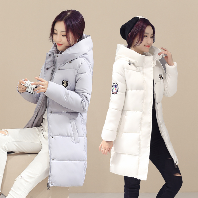 Women Coat 2016 Winter Women s Cotton Slim Long Coat Hooded Parka Jackets Coats White Overcoat