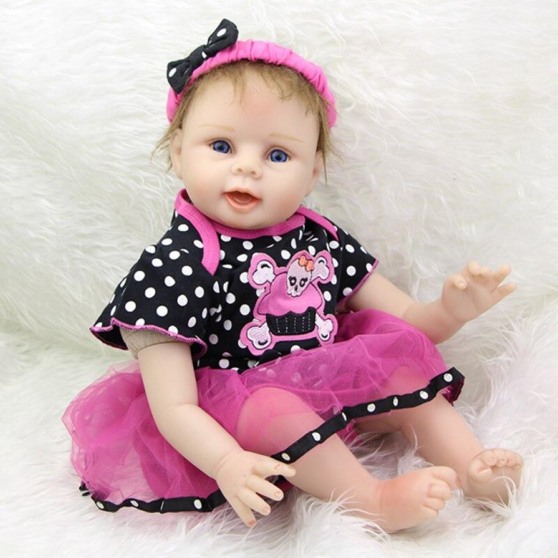 Силиконовые Винил Reborn Baby Doll 22 дюймов по-настоящему реального реалистичные младенцы носить череп платье подарок на день рождения для детей Б...