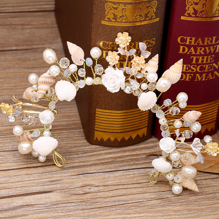 The bride jewelry European starfish pearl hairbands conch shells marriage yarn studio crown headdress wedding hair accessories starfish conch coral velvet floor area rug