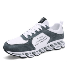 2019 new spring mens breathable sports shoes leather trend ins non-slip running
