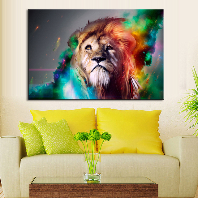 Lovely 1 Pcs Animal Colorful Lion Wall Art Large Size Creative Lion Painting  Prints On Canvas For