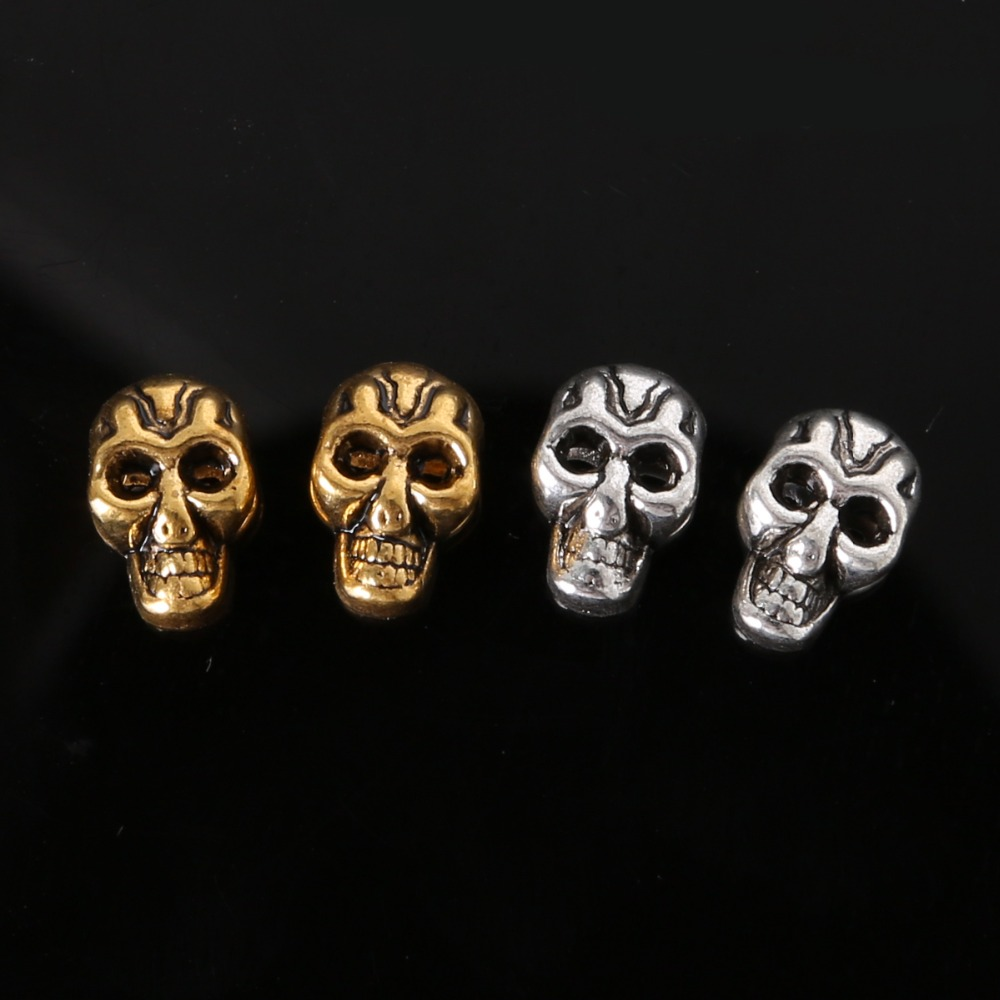 Aliexpress Metal Zinc Allloy Hole 10pcs 8 12mm Skull Beads Charms For Diy Paracord Bracelet Knife Lanyards Jewelry Making Accessories From