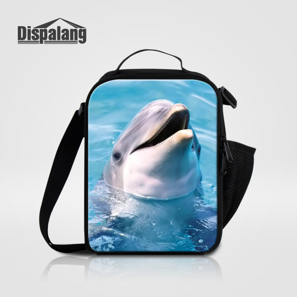 Dispalang Dolphin Animal Cooler Kids Lunch Bags Portable Insulated Thermal Lunch Box Carry Tote Picnic Storage Bag For Students