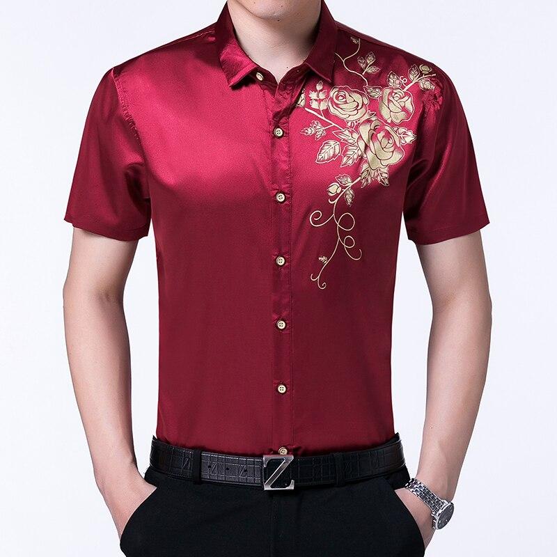 Male Short Sleeve Fl Silk Dress Shirts Summer Fashion Printing Mens Wedding Party Satin Shirt