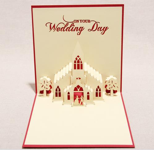 Wedding Greeting Cards Design Church Shape Carved Diy Paper Artware Special Congratulation Card