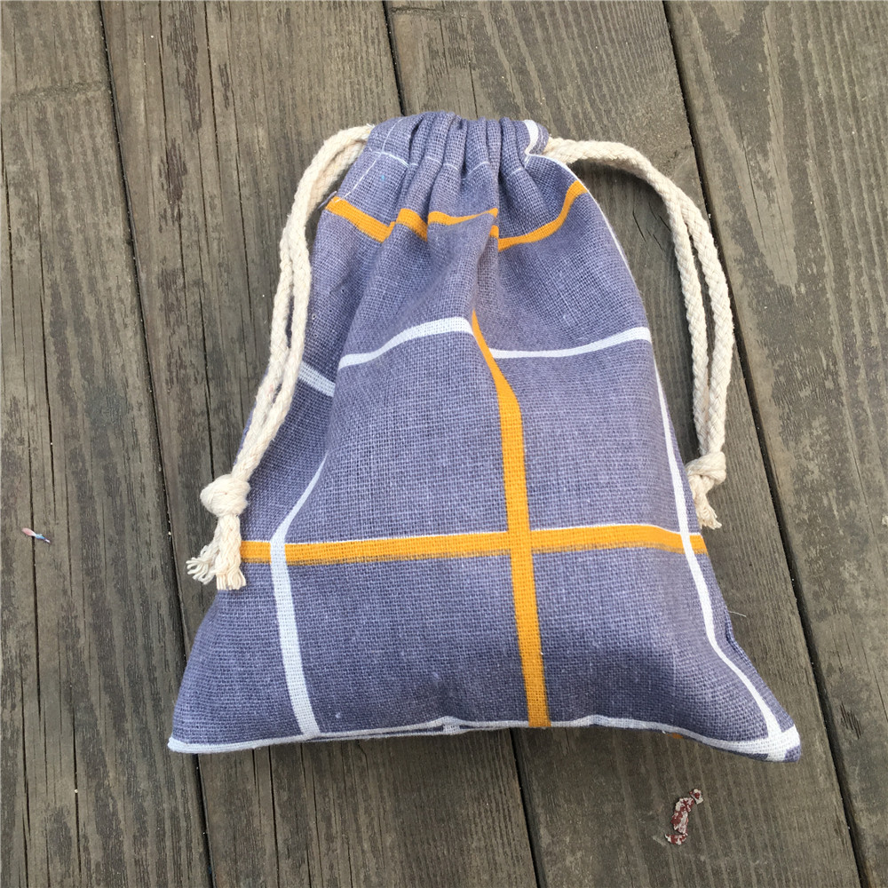 1pc Cotton Linen Drawstring Party Gift Bag Coin Phone Key Pouch Yellow White Check YILE812C
