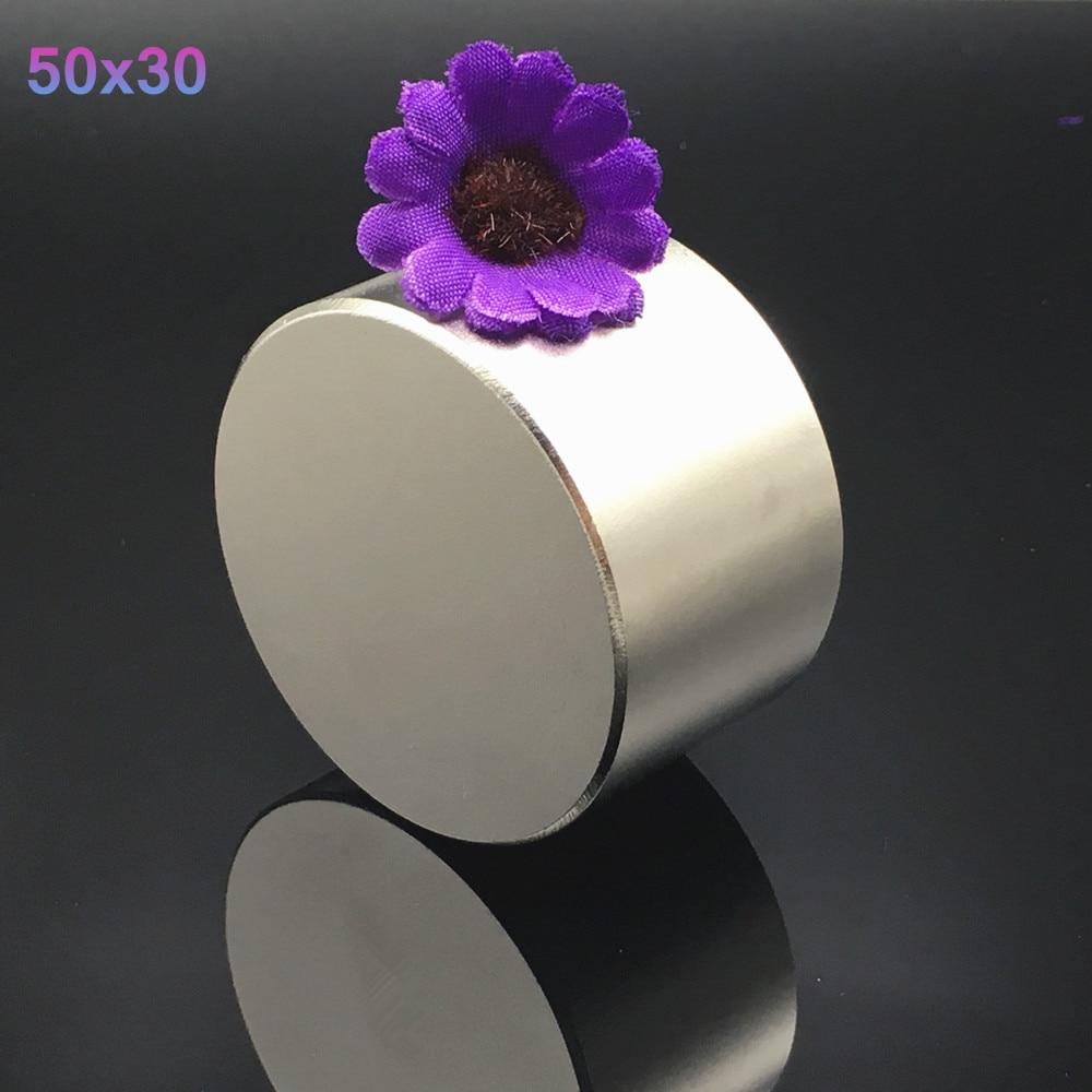 1 pz magnete Al Neodimio 50x30 N52 Super strong rotonda magnete della Terra Rara di NdFeb N38 50*30mm più forte permanente potente magnetico