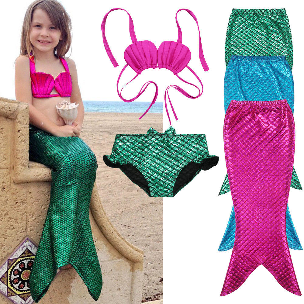 3PCS Girl Kids Mermaid Tail Swimmable Swimwear Swimsuit Girls Bikini Set Bathing Suit Fancy Costume 3-9Y size 100-150 baby toys