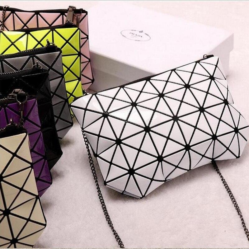 Women Pearl Bag 2016 Geometric Patchwork Diamond Lattice Handbag Famous Brand Fold over Messenger Bag