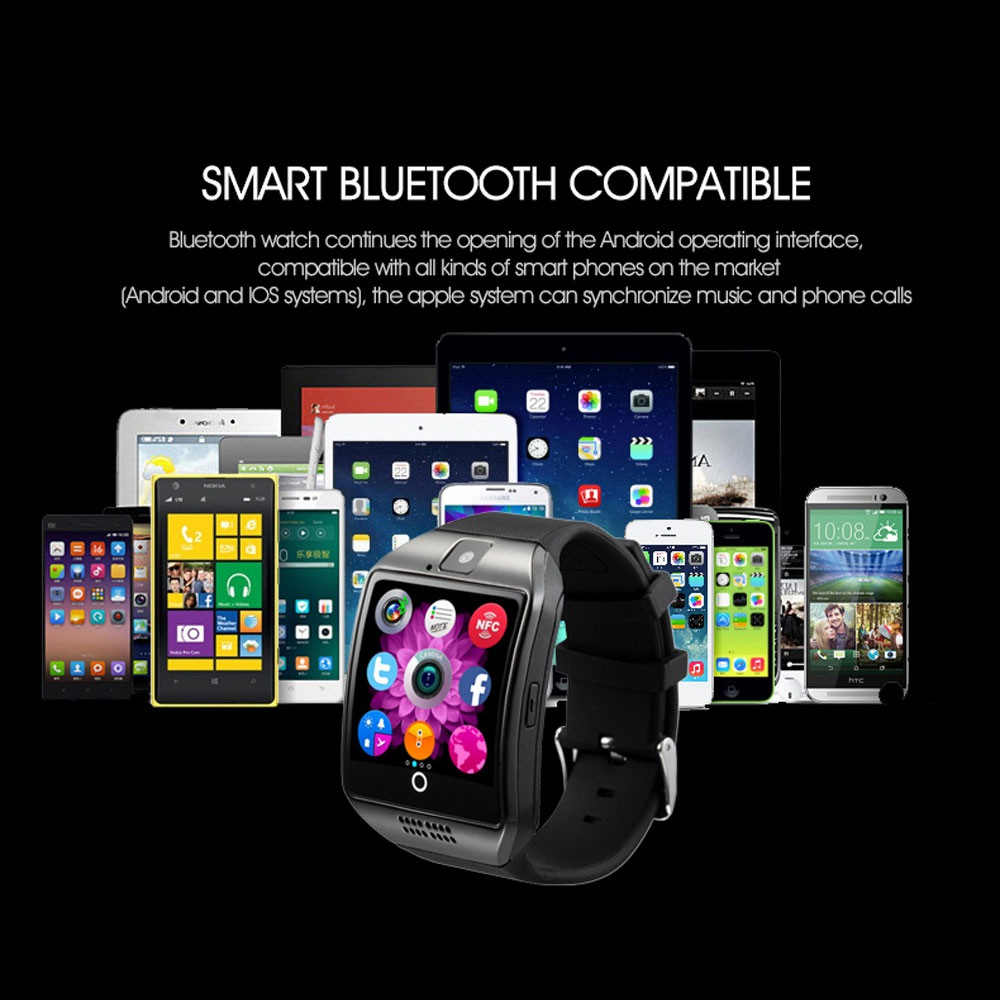 Q18 Smart Watch Support APP Download Sim TF SD Card Phone Call Push