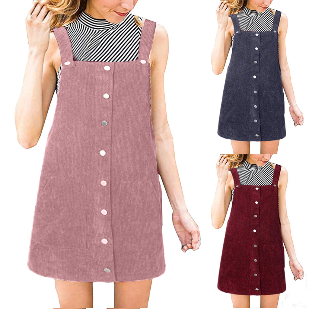 Free Ostrich 2019 Pink Wick Velvet Women Corduroy Straight Suspender Mini Bib Overall Pinafore Casual Button Dress Hot Sales