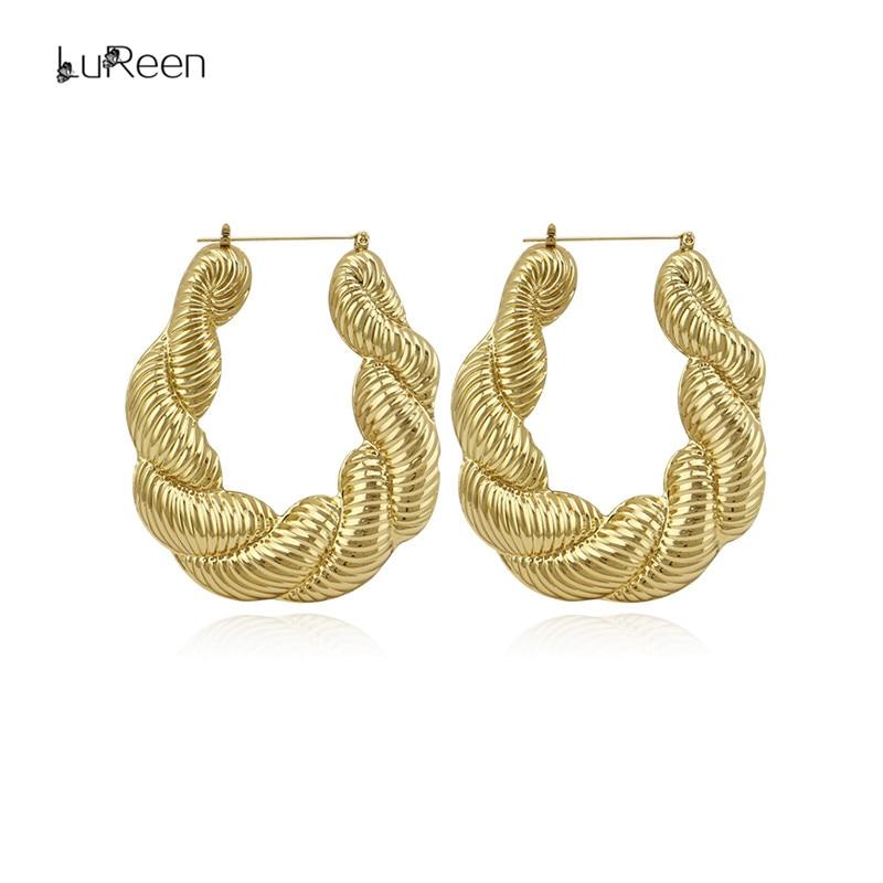 LuReen Punk Gold Twist Hoop Earring For Women Geometric Big Large Basketball Wives Statement Earrings Jewelry Party LE0054