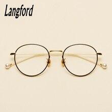 9df69b3ca4 Langford marca ronda vintage gafas marco óptico gafas marcos para las  mujeres grande oro gafas marcos diseños perla pierna