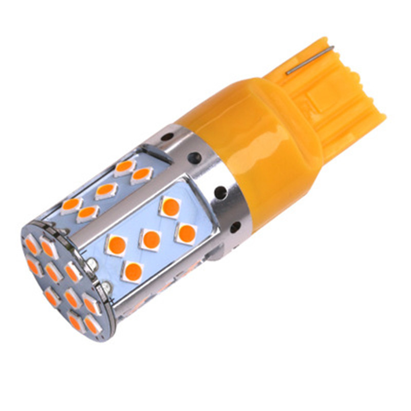 No Resistor Need Amber 35-emitter 3030 LED 7440 T20 CANBUS LED Bulbs For Front or Rear Turn Signal Lights (No Hyper Flash) ijdm amber yellow error free 2835 led 1156 p21w led bulbs for car front or rear turn signal lights daytime running lights