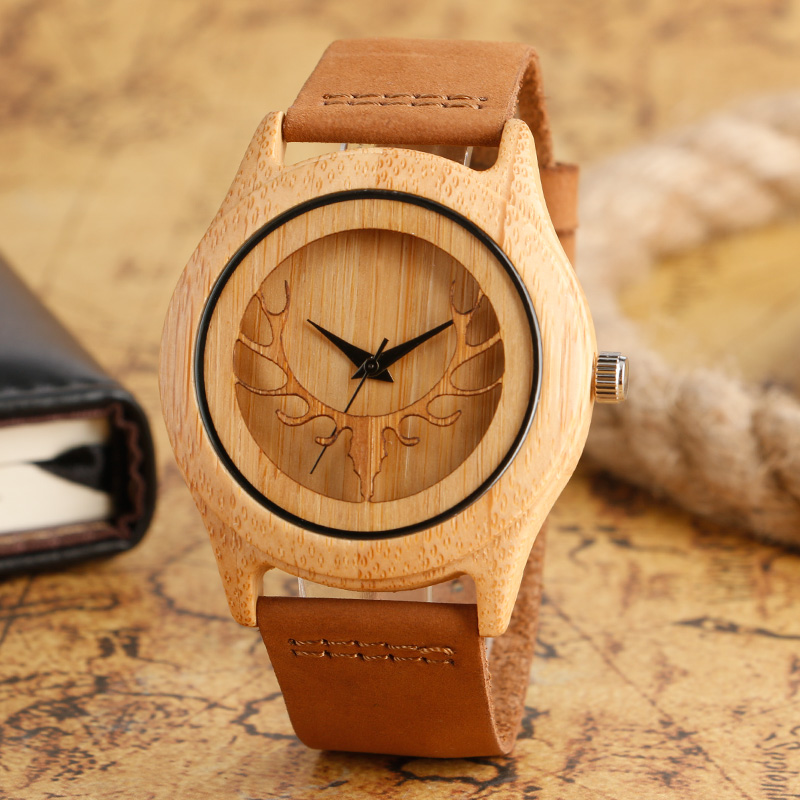 Creative Moose Deer Elk Head Hollow Wooden Watches Genuine Leather Nature Wood Bamboo Wrist Watch Men Women Gift Reloj de madera simple brown bamboo full wooden adjustable band strap analog wrist watch bangle minimalist new arrival hot women men nature wood