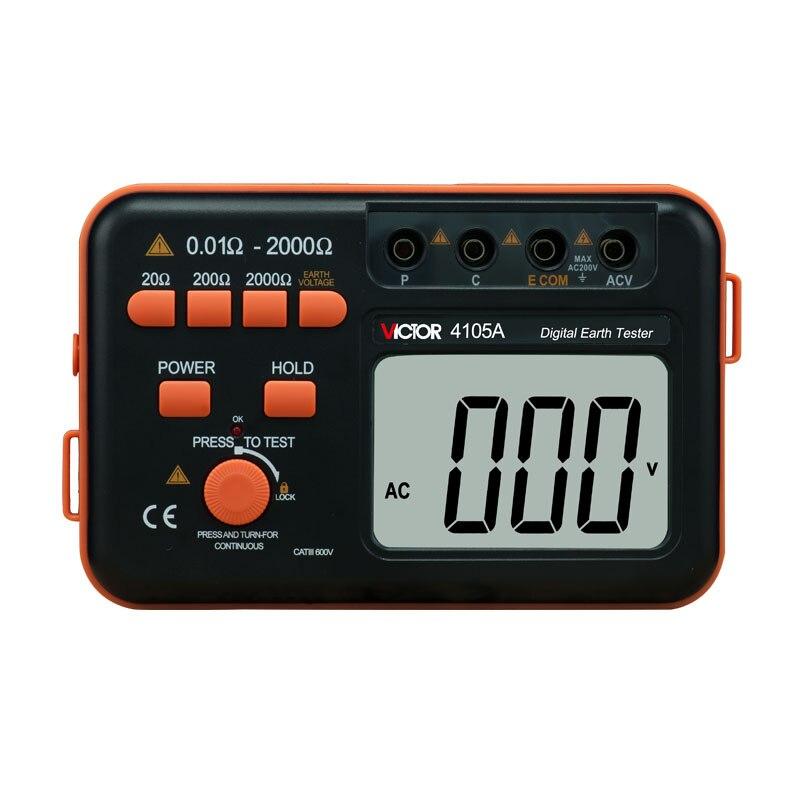 VICTOR VC4105A Измеритель сопротивления заземления измеритель напряжения переменного тока цифровой измеритель сопротивления заземления