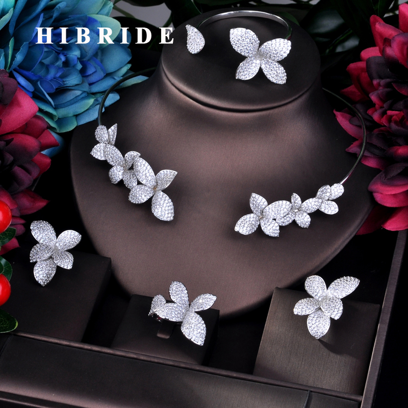 HIBRIDE Luxury Flower Design Fashion Design Dubai Bridal Jewelry Sets Women Wedding Accessories Bangle Earring Necklace N-754HIBRIDE Luxury Flower Design Fashion Design Dubai Bridal Jewelry Sets Women Wedding Accessories Bangle Earring Necklace N-754
