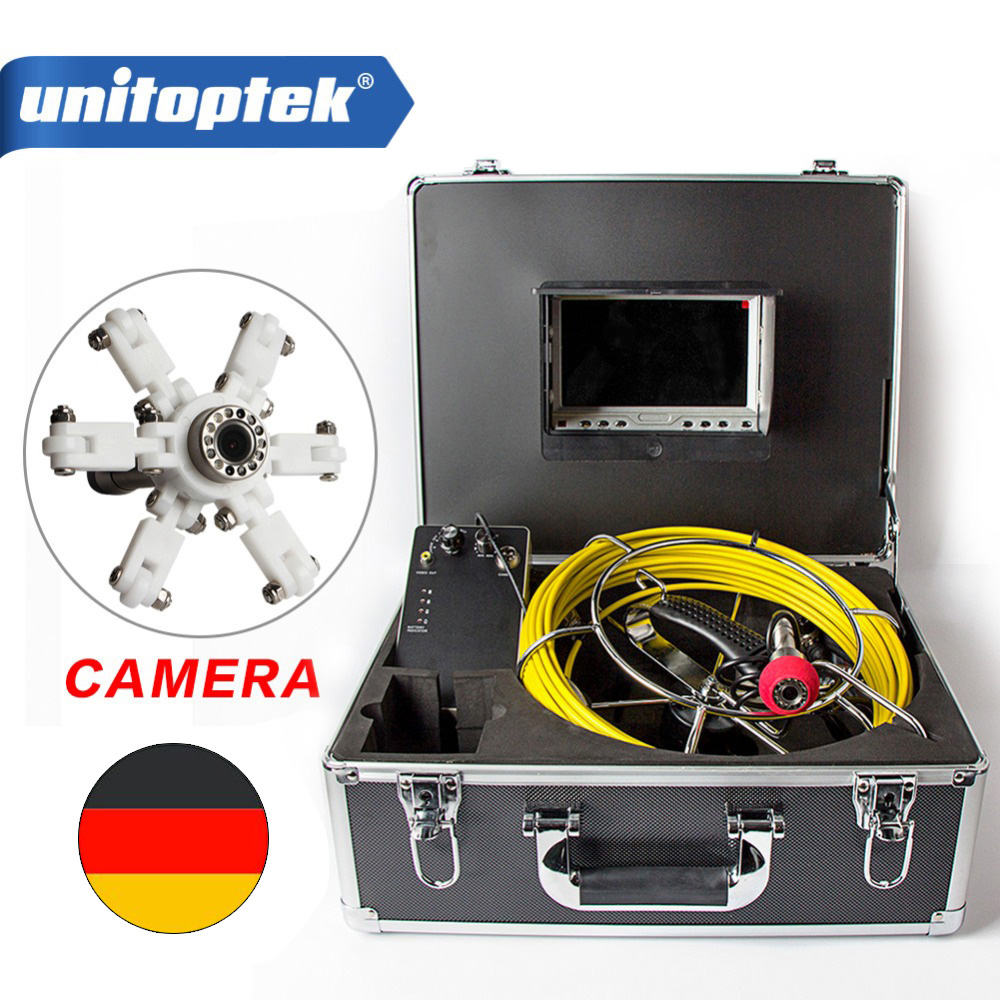 7 TFT LCD Waterproof Pipe Sewer Inspection System CMOS 1000TVL 12 Leds Night View Endoscope Camera With Fiberglass Rod Cable