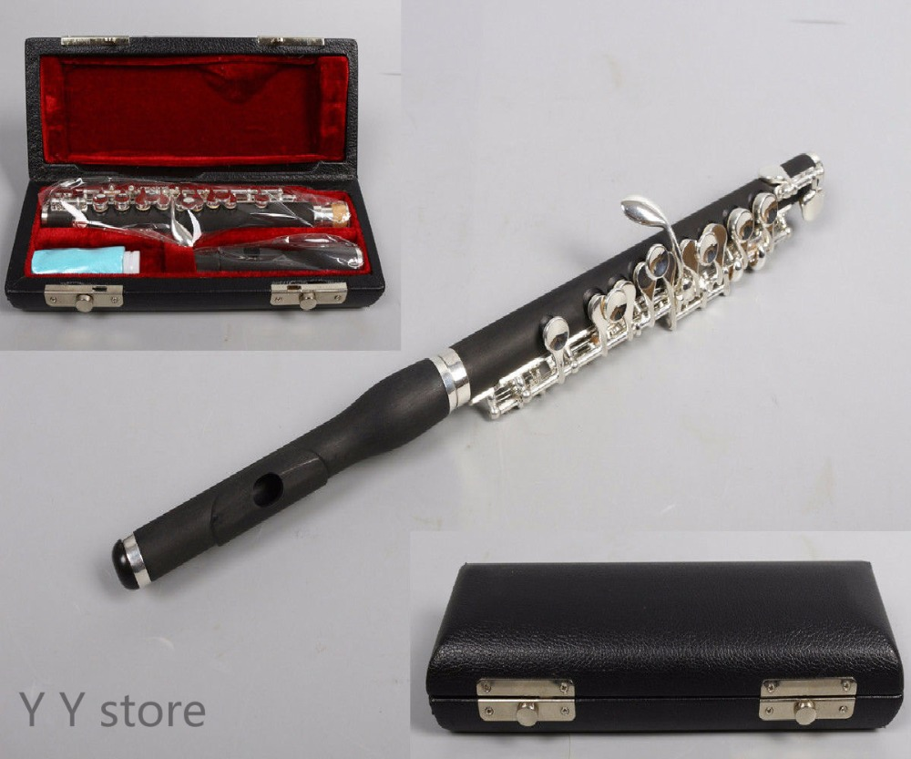 New Piccolo Rubber wood Body Silver Plated Keys Closed Hole Case
