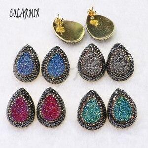Image 3 - Boucles doreilles druzes pour femmes, 10 paires, boucles doreilles à clous en pierre, mélange de couleurs, imitation druzes, vente en gros de bijoux, tendance 7021