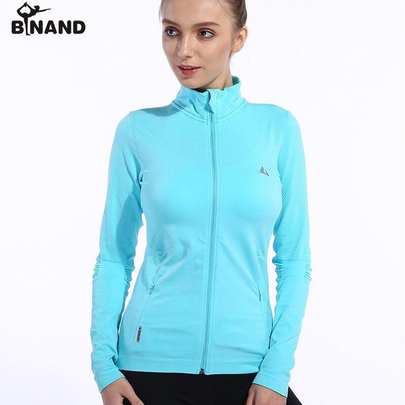 BINAND Full Zipper Standing Collar Side Pocket Yoga Jacket Females Absorb Sweat Elastic Training Workout Long Sleeve Sweatshirt arm zipper pocket design patched jacket