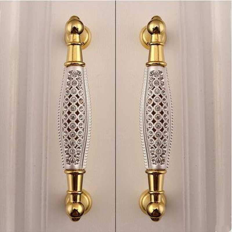 96mm Deluxe Fashion 24k Gold Furniture Handle Glass
