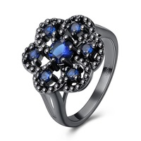 Jenia Pretty Fashion Women Flower Zircon Ring Black Gun Plated Wedding Ring Female Friendship Jewelry CPR1023