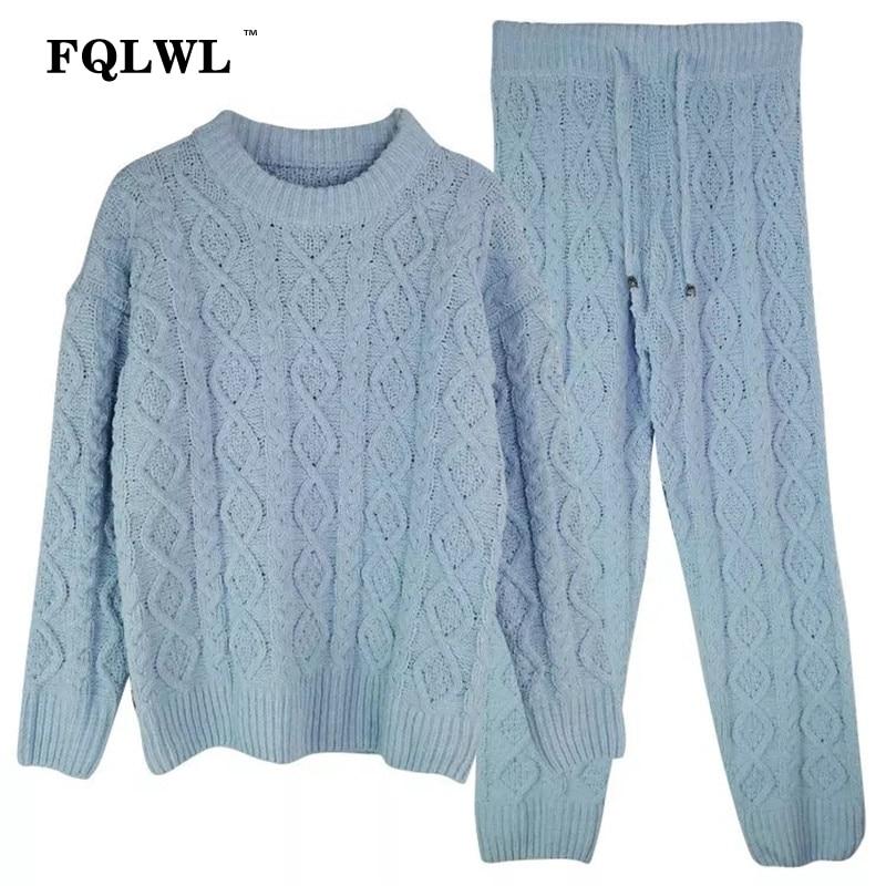 Lungo Set Outwear Rosa Femminile Top blu Donne Fqlwl A Pantaloni Pullover  Delle colore Manicotto Maglia Caldo Bianco Del Inverno Maglione ... f8126874fcd