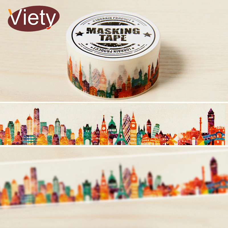2cm 7m gorgeous town washi tape diy decoration for Adhesive decoration